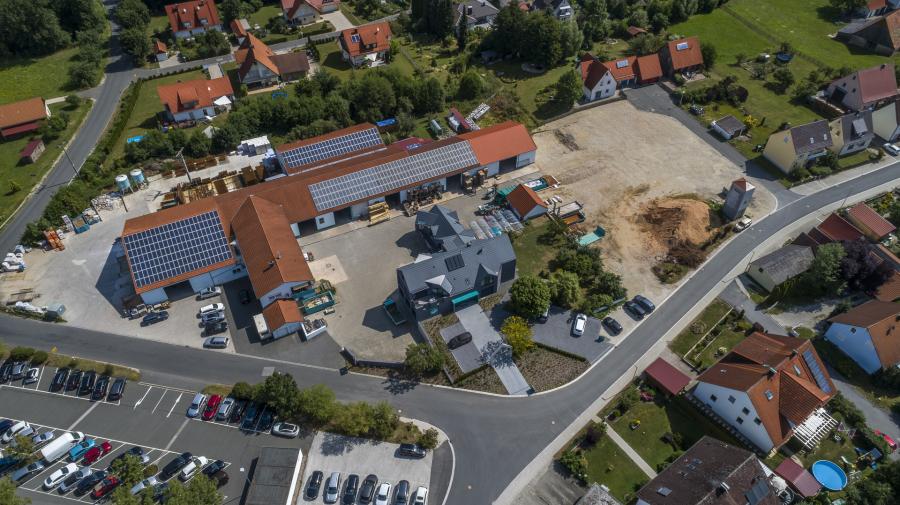 Bauunternehmen, Bauträger, Betriesbhof, Luftbild, Vogelperspektive, Bauhof, Betriebsgelände, Überblick, Luftaufnahme, Drohne